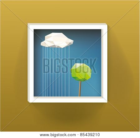 Picture with trees Landscape on Wall. Vector Illustration