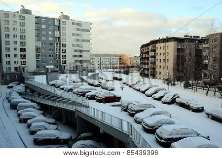 Winter In Capital Of Lithuania Vilnius City Pasilaiciai District