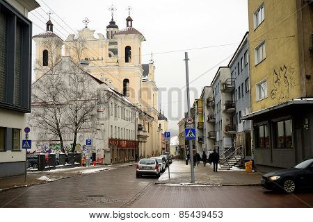 Vilnius Old City Center Winter Street View