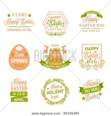 Happy Easter labels, logos and badges