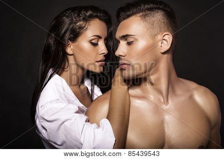 Fashion Photo Of Sexy Impassioned Couple