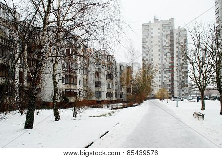 Winter In Capital Of Lithuania Vilnius City Seskine District