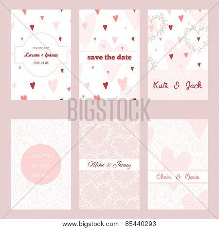 Set of beautiful invitations with floral and swirl ornament