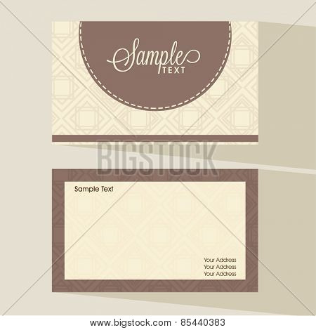 Floral decorated two sided presentation of business card set.