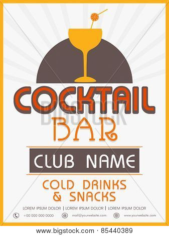 Vinatge menu card design of Cocktail Bar for club, pub and night beer party.