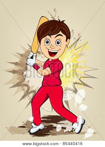 Cartoon of a smiling boy in playing action on abstract background for Cricket concept.