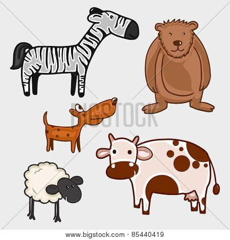 Set of different wild and domestic animal characters on grey background.