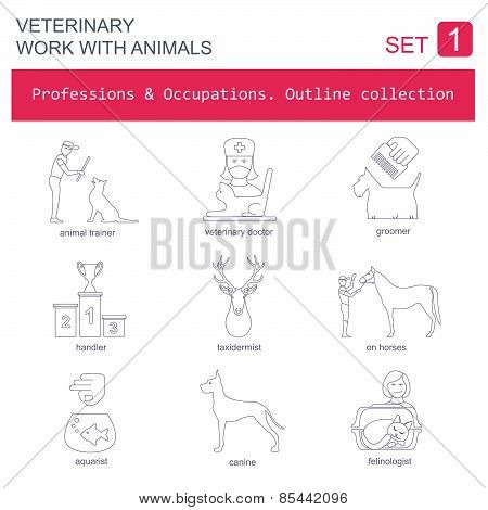 Professions and occupations outline icon set. Veterinary, work with animals. Flat linear design