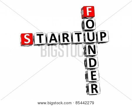 3D Crossword Startup Founder On White Background