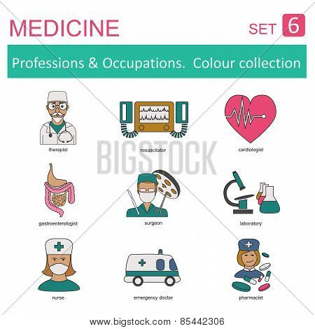 Professions and occupations outline icon set. Medical. Flat linear design