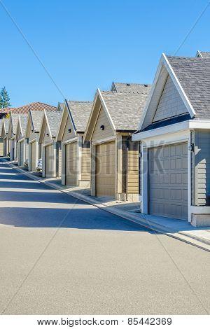 Row of garage doors in Vancouver, Canada.