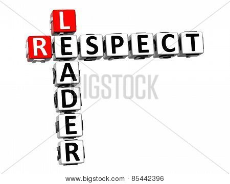 3D Crossword Leader Respect On White Background