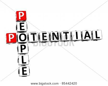 3D Crossword People Potential On White Background