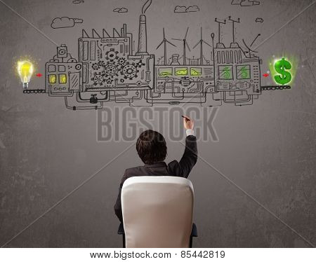 Business man looking at factory that makes money from ideas concept