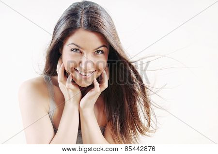 Cheerful Attractive Beautiful Woman With Pure Skin And Strong Healthy Bright Hair