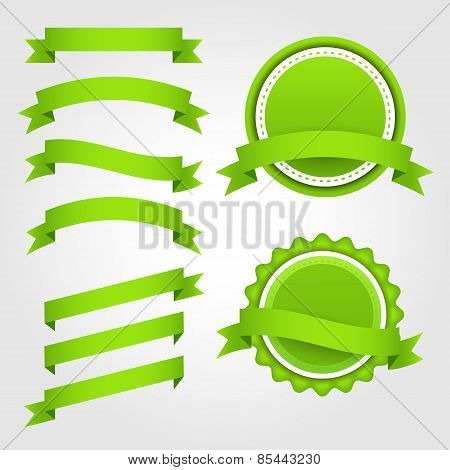 Set of green paper ribbons, labels and badges