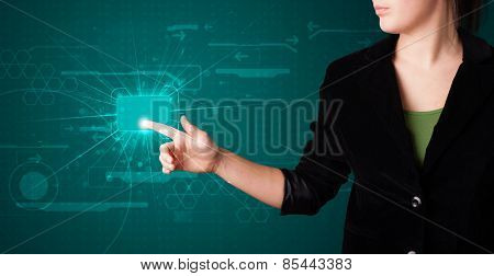 Young lady pressing high tech type of modern buttons