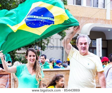 SAO PAULO, BRAZIL - CIRCA MARCH 2015: Protesters on Paulista Avenue against the corruption of Brazilian government in Sao Paulo, Brazil.