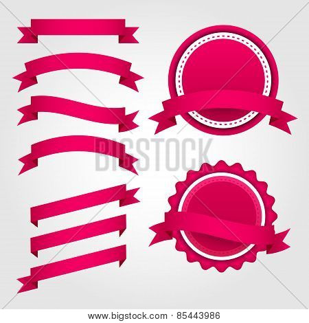 Set of pink paper ribbons, labels and badges