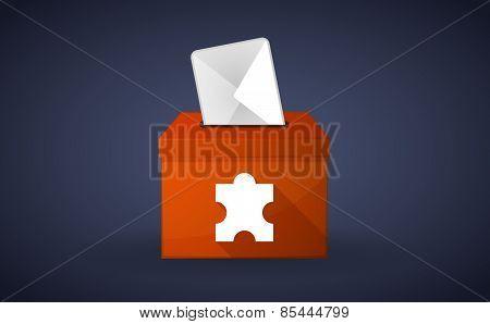 Orange Ballot Box With A Puzzle Piece