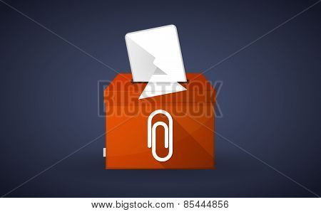 Orange Ballot Box With A Pointing Hand