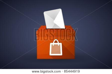 Orange Ballot Box With A Shopping Bag