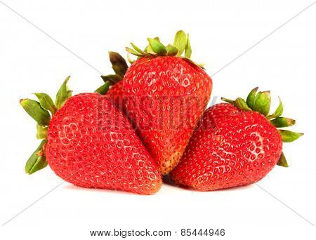 Fresh strawberries isolated white background. Healthy diet.