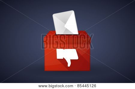 Red Ballot Box With A Thumb Hand