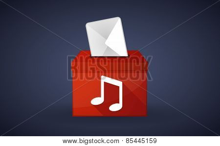 Red Ballot Box With A Music Note
