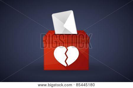 Red Ballot Box With A Broken Heart