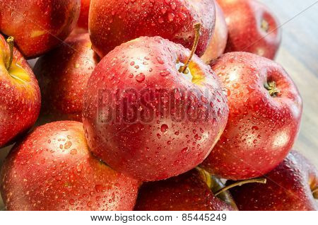Dewdrops On The Red Apples