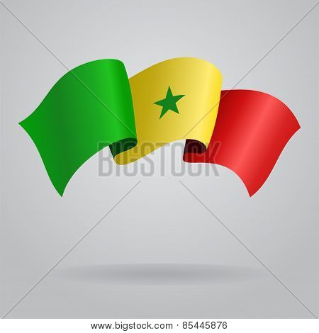 Senegalese waving Flag. Vector illustration