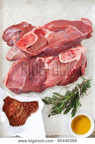 raw meat with spice