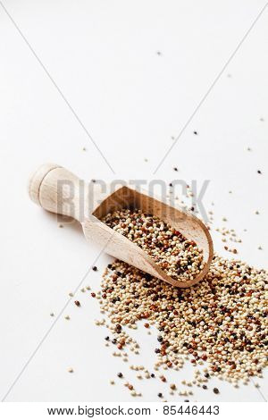quinoa seed grain in a wooden bowl scoop