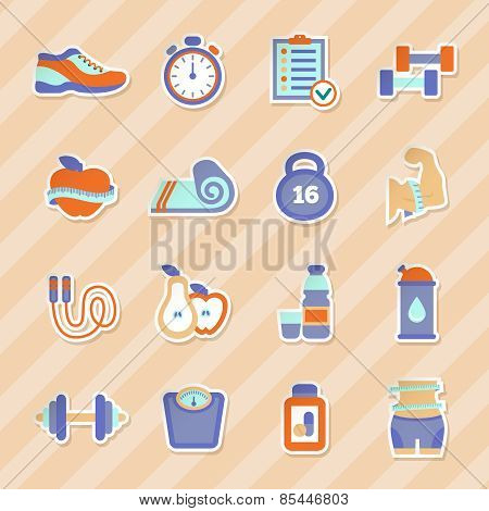 Set of fitness flat stickers