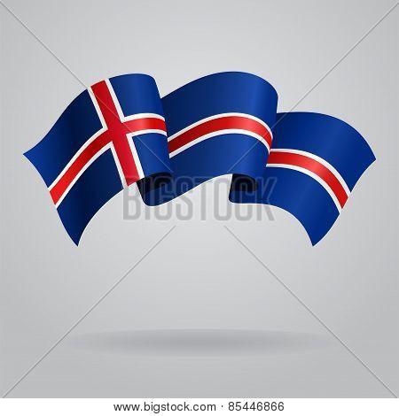 Icelandic waving Flag. Vector illustration