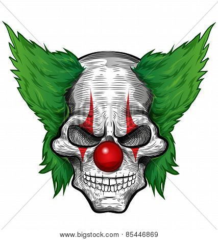 Clown Skull Isolated On White Background.clown Skull Isolated On White Background.