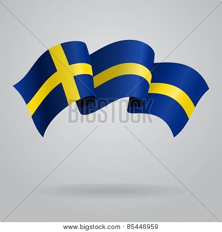 Swedish waving Flag. Vector illustration
