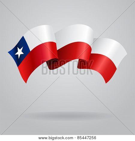 Chilean waving Flag. Vector illustration