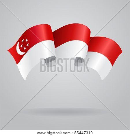 Singapore waving Flag. Vector illustration