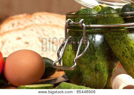Vegetable ingredients of breakfast. Selective focus.