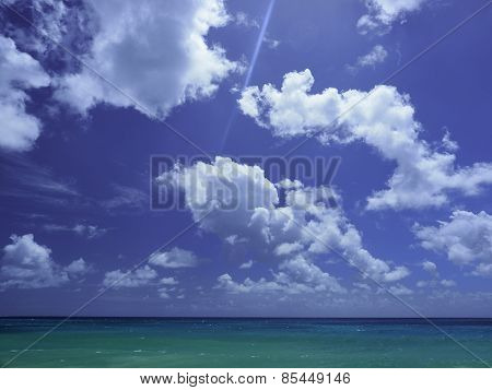 Barbados Blue Sky, Fluffy Clouds And Turquoise Sea