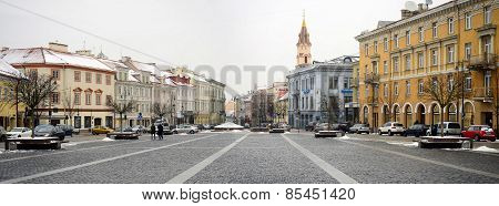 Vilnius Old City Center Winter Town Hall Square View