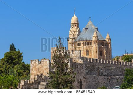 Abbey of Dormition and ancient walls in Old City of Jerusalem, Israel.