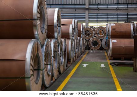 Many bended steel/metal sheet rolls