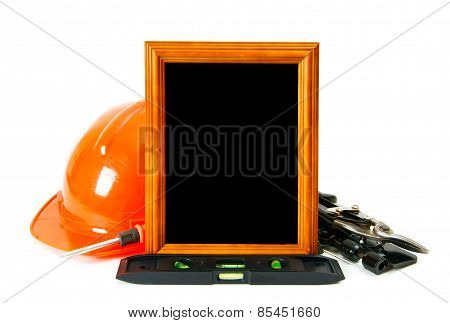 Working tools and frame on white background.