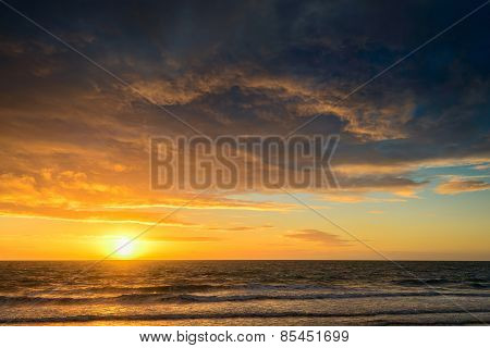 Dramatic Sunset And Sea