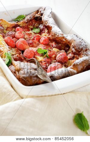 Delicious French Clafoutis In Baking Dish