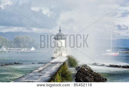 Beacon On The Lake Leman In Geneva, Switzerland