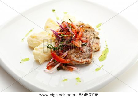 Pork Medallions with Mushed Potato and Salsa Sauce